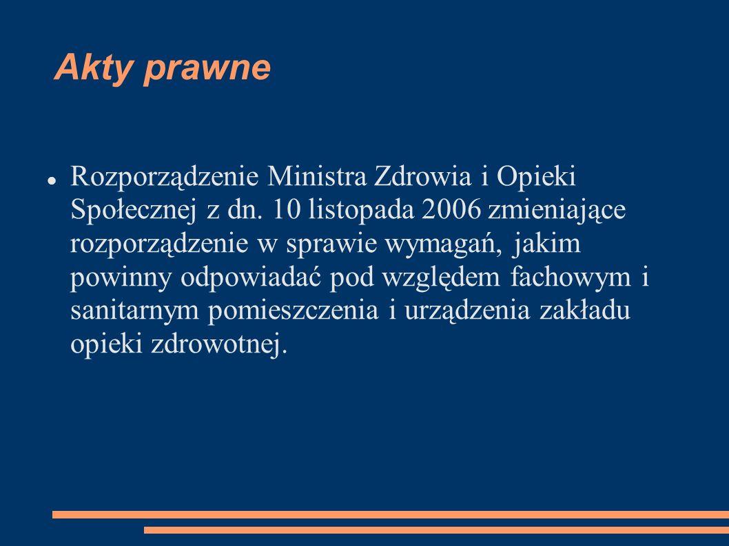 Rozporządzenie Ministra Zdrowia i Opieki Społecznej z dn. 10 listopada 2006 zmieniające rozporządzenie w sprawie wymagań, jakim powinny odpowiadać pod