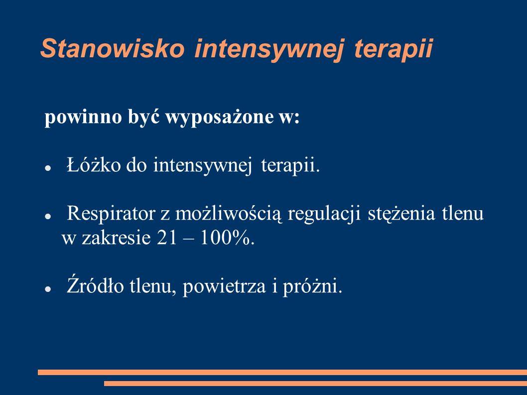 Stanowisko intensywnej terapii powinno być wyposażone w: Łóżko do intensywnej terapii. Respirator z możliwością regulacji stężenia tlenu w zakresie 21