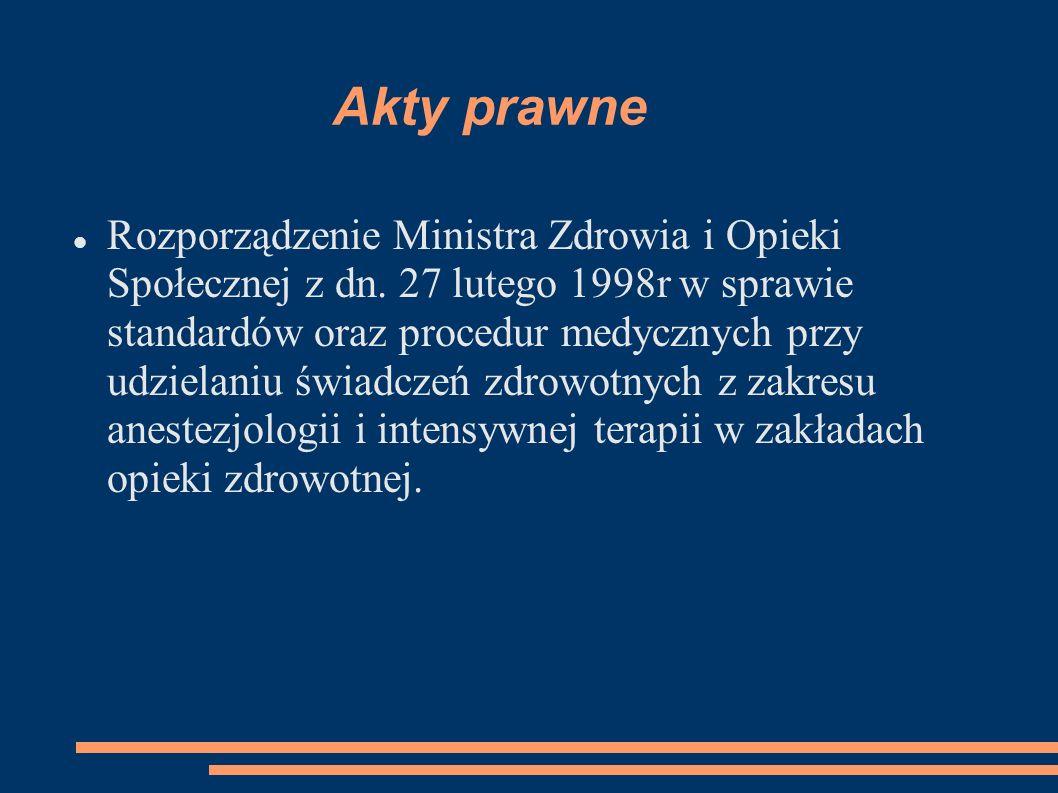 Rozporządzenie Ministra Zdrowia i Opieki Społecznej z dn. 27 lutego 1998r w sprawie standardów oraz procedur medycznych przy udzielaniu świadczeń zdro
