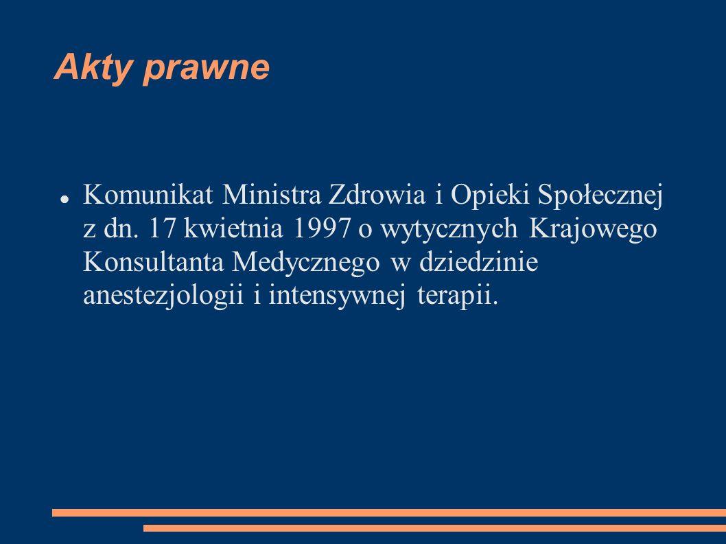 Komunikat Ministra Zdrowia i Opieki Społecznej z dn. 17 kwietnia 1997 o wytycznych Krajowego Konsultanta Medycznego w dziedzinie anestezjologii i inte