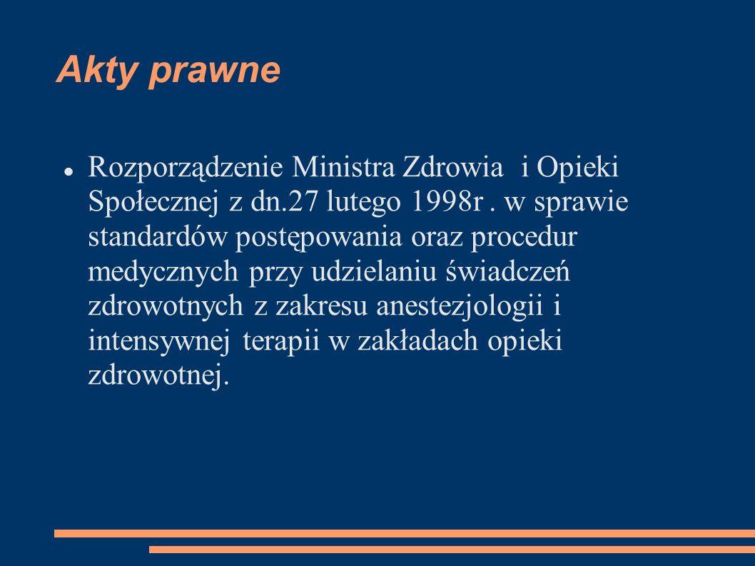 Akty prawne Rozporządzenie Ministra Zdrowia i Opieki Społecznej z dn.27 lutego 1998r. w sprawie standardów postępowania oraz procedur medycznych przy