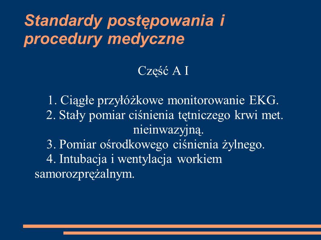 Standardy postępowania i procedury medyczne Część A I 1. Ciągłe przyłóżkowe monitorowanie EKG. 2. Stały pomiar ciśnienia tętniczego krwi met. nieinwaz
