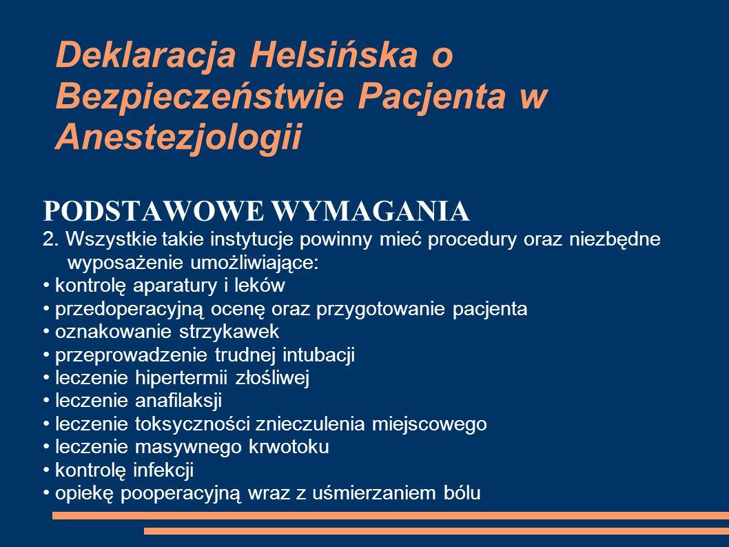 Deklaracja Helsińska o Bezpieczeństwie Pacjenta w Anestezjologii PODSTAWOWE WYMAGANIA 2. Wszystkie takie instytucje powinny mieć procedury oraz niezbę