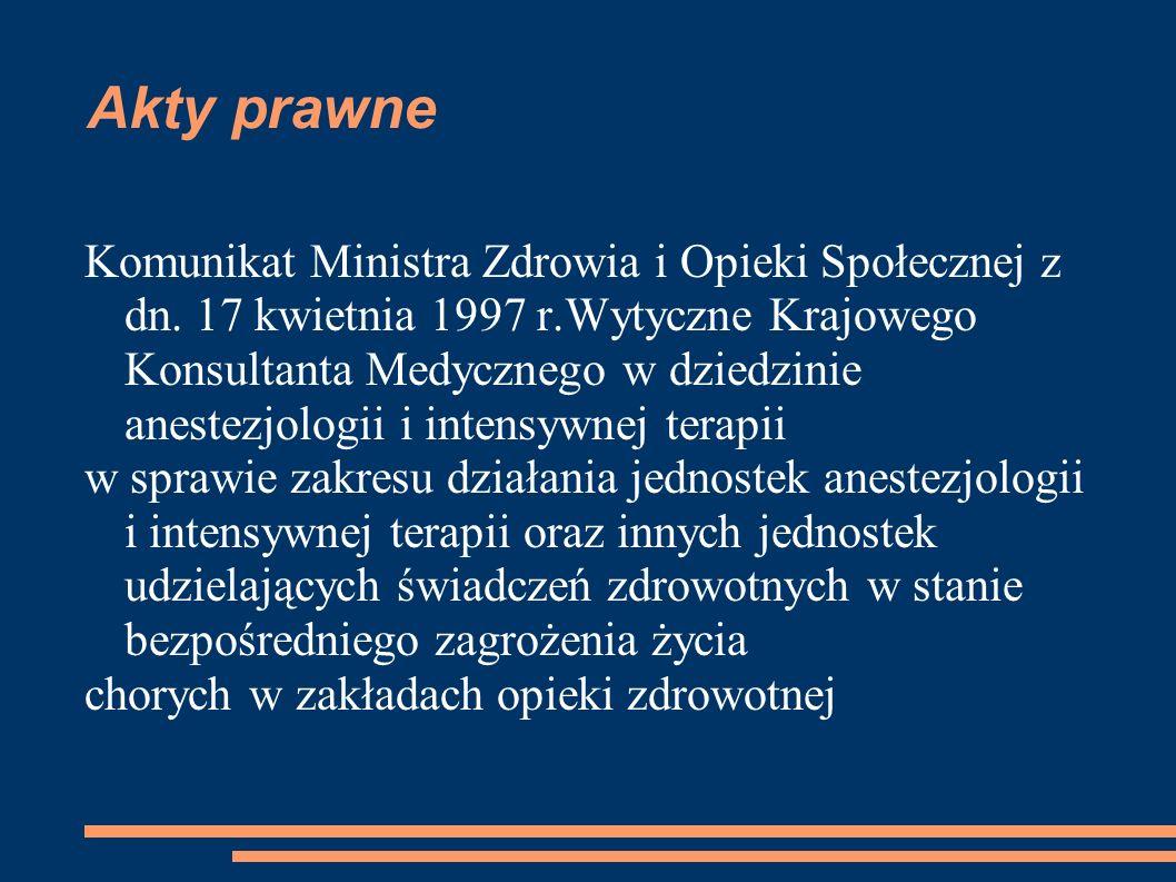 Akty prawne Komunikat Ministra Zdrowia i Opieki Społecznej z dn. 17 kwietnia 1997 r.Wytyczne Krajowego Konsultanta Medycznego w dziedzinie anestezjolo