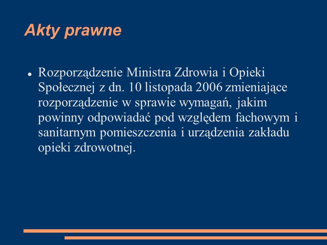 Akty prawne Rozporządzenie Ministra Zdrowia i Opieki Społecznej z dn. 10 listopada 2006 zmieniające rozporządzenie w sprawie wymagań, jakim powinny od