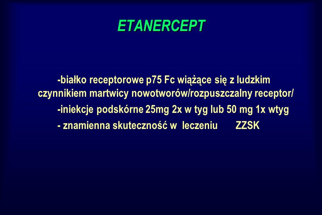 ETANERCEPT -białko receptorowe p75 Fc wiążące się z ludzkim czynnikiem martwicy nowotworów/rozpuszczalny receptor/ -iniekcje podskórne 25mg 2x w tyg l
