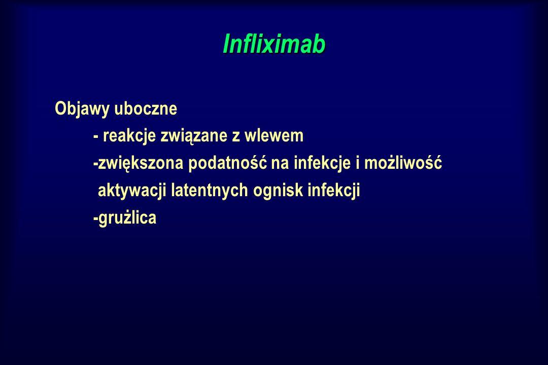 Infliximab Objawy uboczne - reakcje związane z wlewem -zwiększona podatność na infekcje i możliwość aktywacji latentnych ognisk infekcji -grużlica