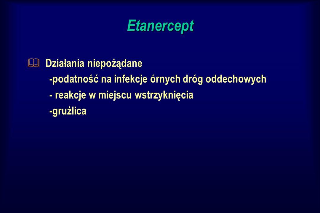 Etanercept & Działania niepożądane -podatność na infekcje órnych dróg oddechowych - reakcje w miejscu wstrzyknięcia -grużlica