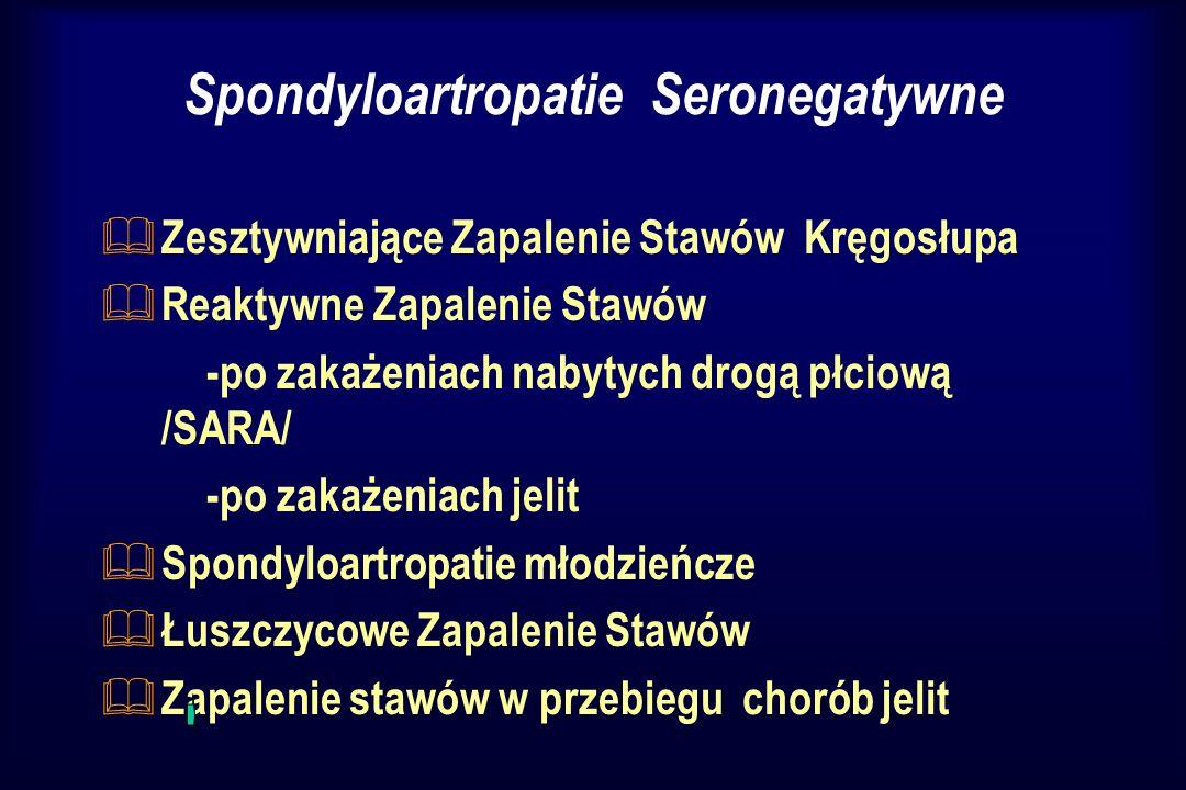 Spondyloartropatie Seronegatywne & Zesztywniające Zapalenie Stawów Kręgosłupa & Reaktywne Zapalenie Stawów -po zakażeniach nabytych drogą płciową /SAR