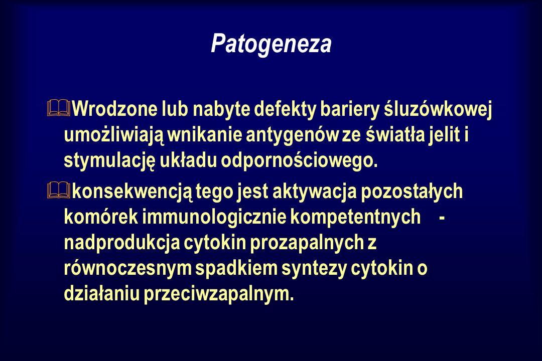 Patogeneza & Wrodzone lub nabyte defekty bariery śluzówkowej umożliwiają wnikanie antygenów ze światła jelit i stymulację układu odpornościowego. & ko