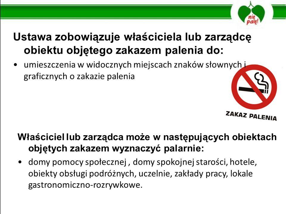 Ustawa zobowiązuje właściciela lub zarządcę obiektu objętego zakazem palenia do: umieszczenia w widocznych miejscach znaków słownych i graficznych o z