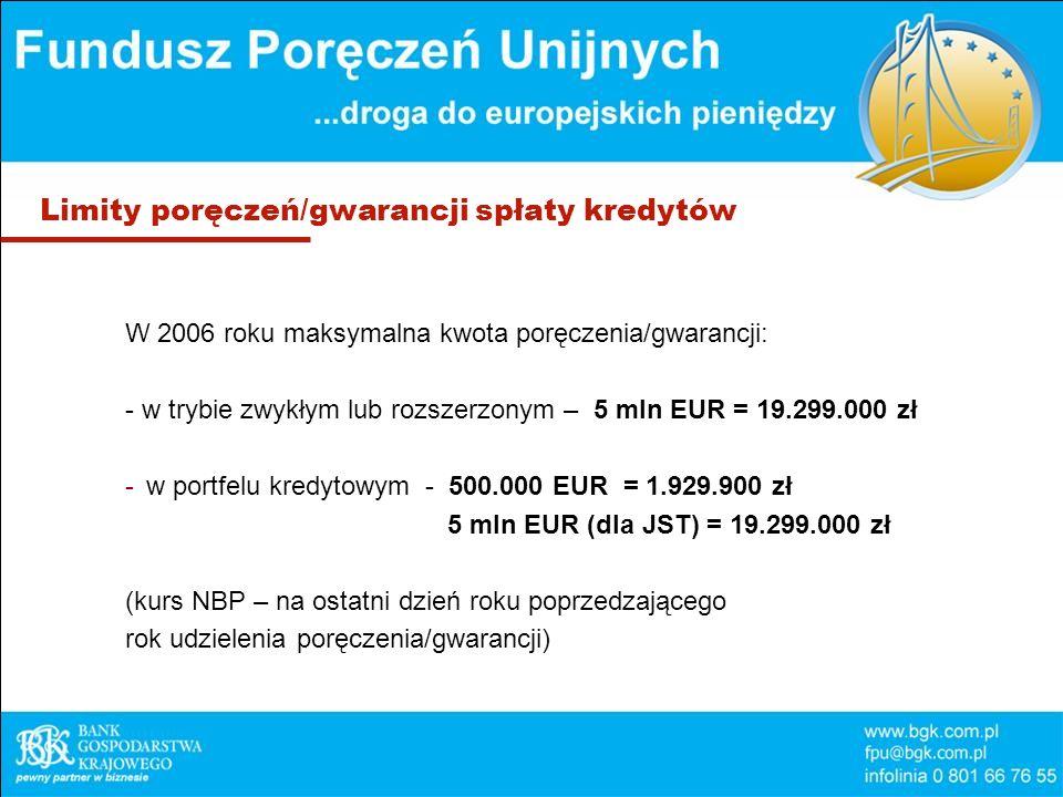 Limity poręczeń/gwarancji spłaty kredytów W 2006 roku maksymalna kwota poręczenia/gwarancji: - w trybie zwykłym lub rozszerzonym – 5 mln EUR = 19.299.000 zł -w portfelu kredytowym - 500.000 EUR = 1.929.900 zł 5 mln EUR (dla JST) = 19.299.000 zł (kurs NBP – na ostatni dzień roku poprzedzającego rok udzielenia poręczenia/gwarancji)