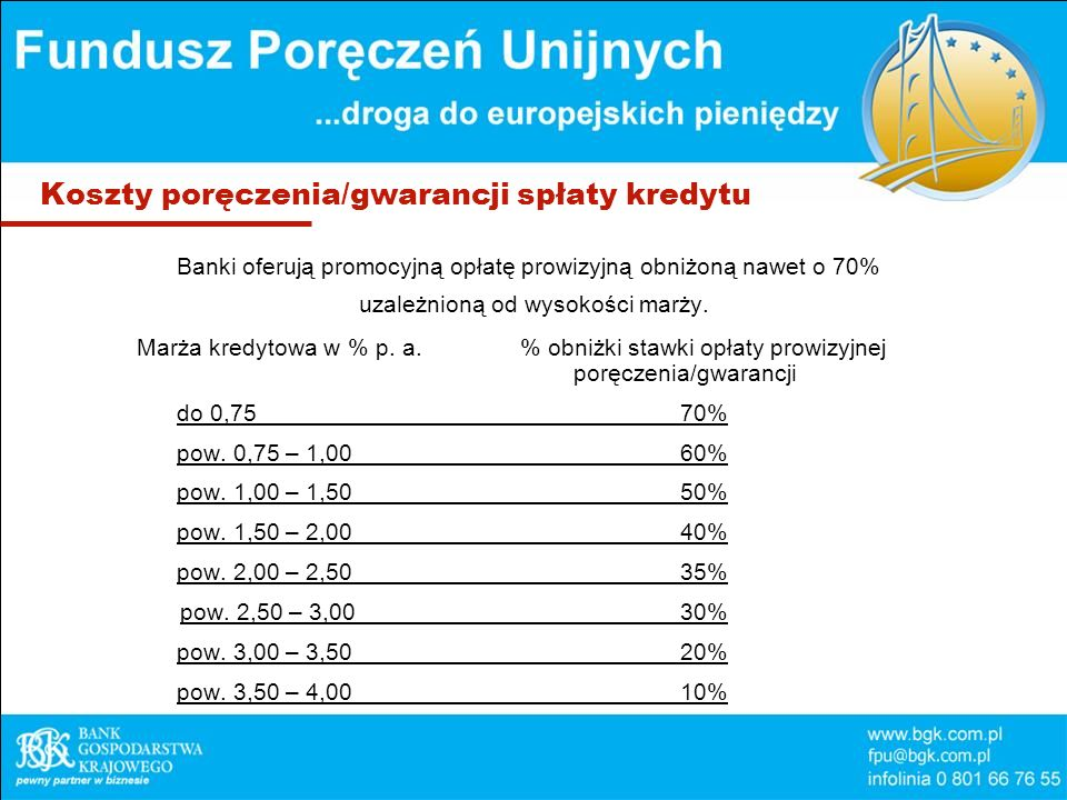 Koszty poręczenia/gwarancji spłaty kredytu Banki oferują promocyjną opłatę prowizyjną obniżoną nawet o 70% uzależnioną od wysokości marży. Marża kredy