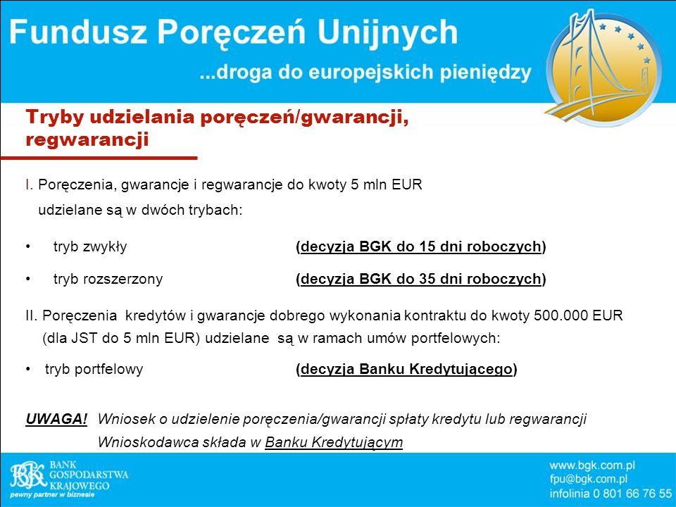 Tryby udzielania poręczeń/gwarancji, regwarancji I. Poręczenia, gwarancje i regwarancje do kwoty 5 mln EUR udzielane są w dwóch trybach: tryb zwykły(d