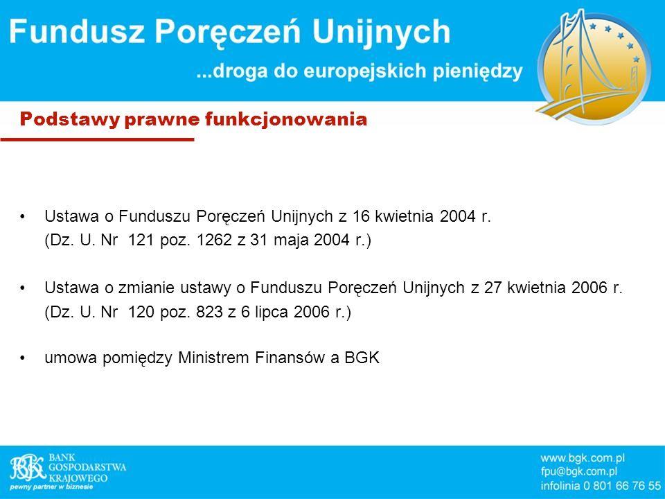 Podstawy prawne funkcjonowania Ustawa o Funduszu Poręczeń Unijnych z 16 kwietnia 2004 r. (Dz. U. Nr 121 poz. 1262 z 31 maja 2004 r.) Ustawa o zmianie