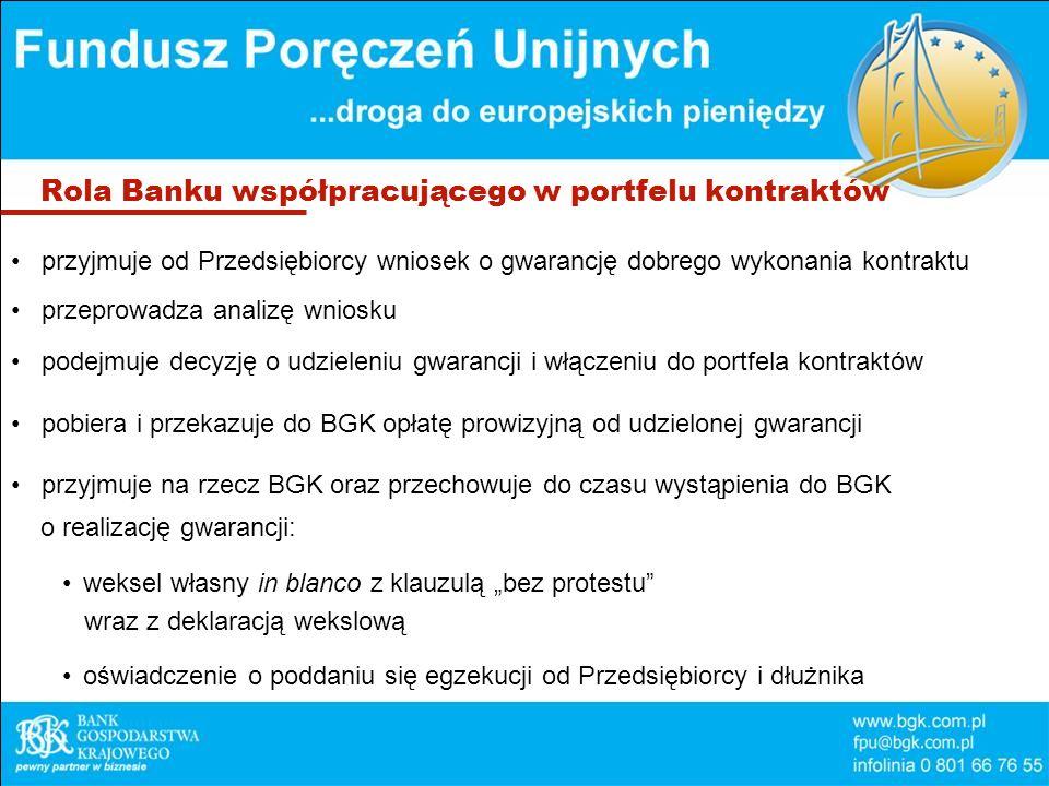 Rola Banku współpracującego w portfelu kontraktów przyjmuje od Przedsiębiorcy wniosek o gwarancję dobrego wykonania kontraktu przeprowadza analizę wniosku podejmuje decyzję o udzieleniu gwarancji i włączeniu do portfela kontraktów pobiera i przekazuje do BGK opłatę prowizyjną od udzielonej gwarancji przyjmuje na rzecz BGK oraz przechowuje do czasu wystąpienia do BGK o realizację gwarancji: weksel własny in blanco z klauzulą bez protestu wraz z deklaracją wekslową oświadczenie o poddaniu się egzekucji od Przedsiębiorcy i dłużnika