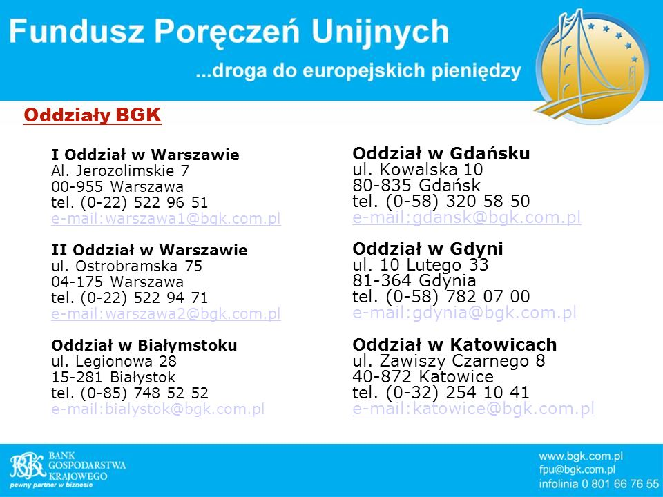 Oddziały BGK I Oddział w Warszawie Al. Jerozolimskie 7 00-955 Warszawa tel. (0-22) 522 96 51 e-mail:warszawa1@bgk.com.pl II Oddział w Warszawie ul. Os