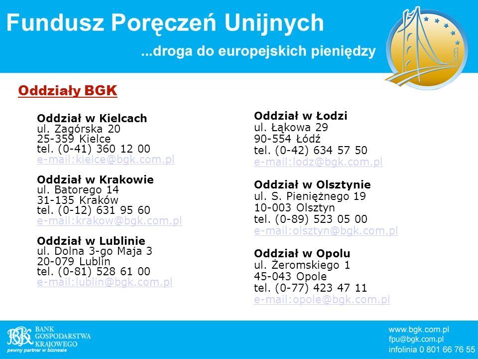 Oddziały BGK Oddział w Kielcach ul. Zagórska 20 25-359 Kielce tel. (0-41) 360 12 00 e-mail:kielce@bgk.com.pl e-mail:kielce@bgk.com.pl Oddział w Krakow