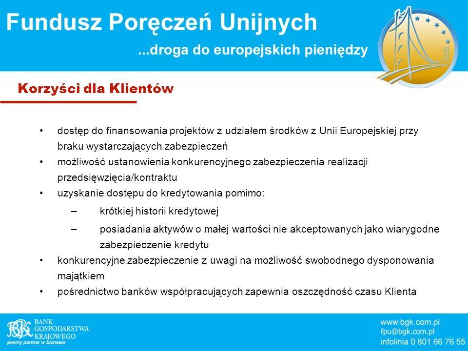 Korzyści dla Klientów dostęp do finansowania projektów z udziałem środków z Unii Europejskiej przy braku wystarczających zabezpieczeń możliwość ustano