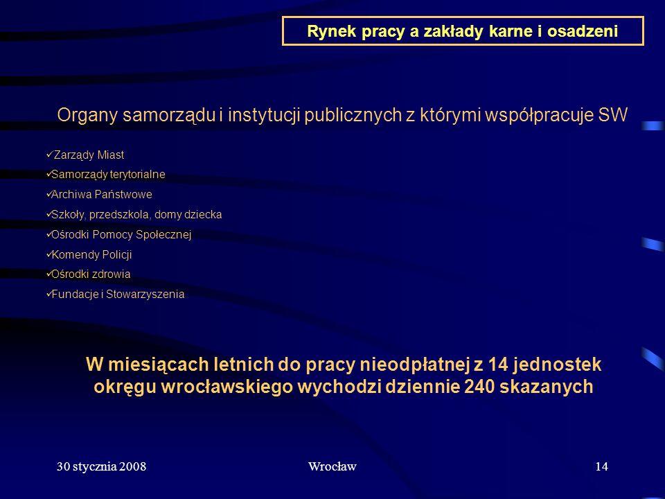 30 stycznia 2008Wrocław14 Organy samorządu i instytucji publicznych z którymi współpracuje SW Zarządy Miast Samorządy terytorialne Archiwa Państwowe S