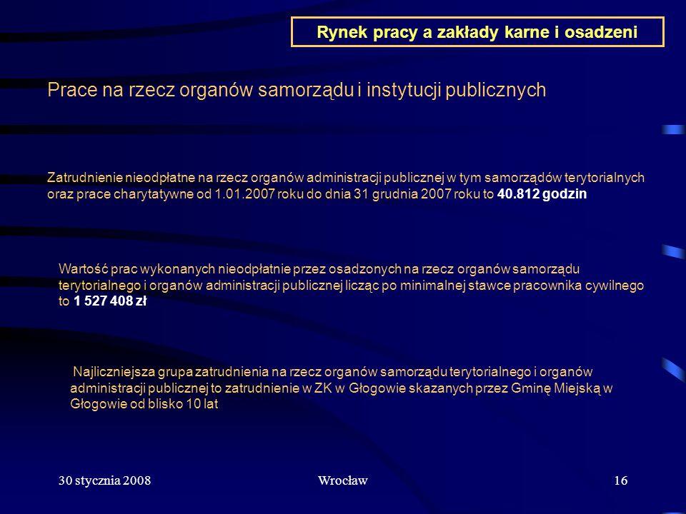 30 stycznia 2008Wrocław16 Prace na rzecz organów samorządu i instytucji publicznych Zatrudnienie nieodpłatne na rzecz organów administracji publicznej