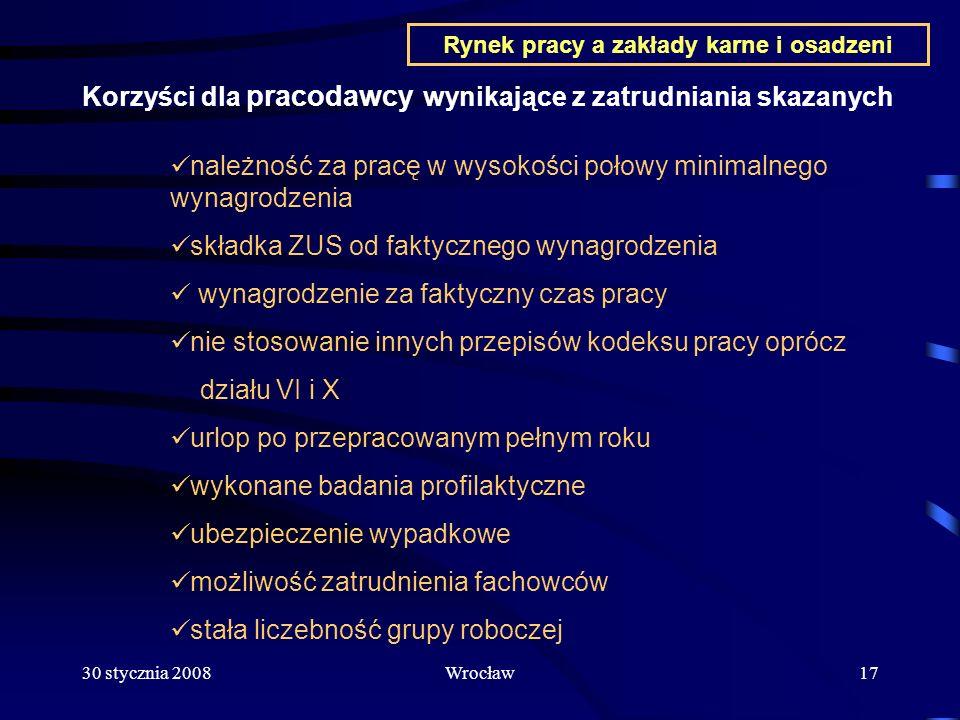 30 stycznia 2008Wrocław17 Korzyści dla pracodawcy wynikające z zatrudniania skazanych należność za pracę w wysokości połowy minimalnego wynagrodzenia