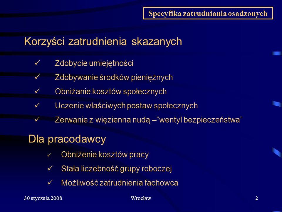30 stycznia 2008Wrocław3 Sytuacja w zatrudnieniu osadzonych Poziom zatrudnienia skazanych na koniec roku 2007 Rynek pracy a zakłady karne i osadzeni Na obszarze CZSW ( rok do roku) 2006 2007 Osadzonych 88 647 87 776 zatrudnionych 24 874 27 840 Skazanych 74 232 76 335 zatrudnionych 24 003 27 228 Tymcz.