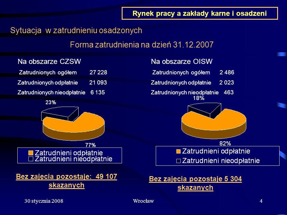 30 stycznia 2008Wrocław4 Sytuacja w zatrudnieniu osadzonych Bez zajęcia pozostaje: 49 107 skazanych Forma zatrudnienia na dzień 31.12.2007 Na obszarze
