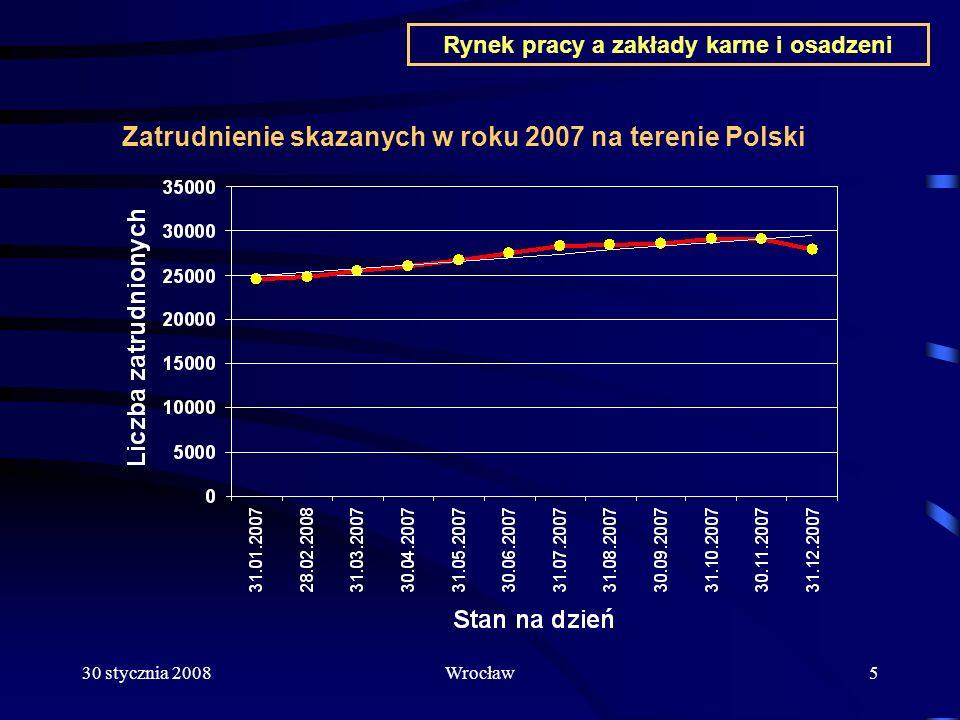 30 stycznia 2008Wrocław16 Prace na rzecz organów samorządu i instytucji publicznych Zatrudnienie nieodpłatne na rzecz organów administracji publicznej w tym samorządów terytorialnych oraz prace charytatywne od 1.01.2007 roku do dnia 31 grudnia 2007 roku to 40.812 godzin Najliczniejsza grupa zatrudnienia na rzecz organów samorządu terytorialnego i organów administracji publicznej to zatrudnienie w ZK w Głogowie skazanych przez Gminę Miejską w Głogowie od blisko 10 lat Wartość prac wykonanych nieodpłatnie przez osadzonych na rzecz organów samorządu terytorialnego i organów administracji publicznej licząc po minimalnej stawce pracownika cywilnego to 1 527 408 zł Rynek pracy a zakłady karne i osadzeni