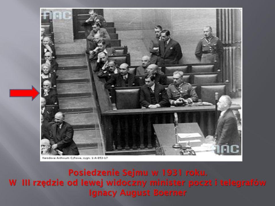 Posiedzenie Sejmu w 1931 roku. W III rz ę dzie od lewej widoczny minister poczt i telegrafów Ignacy August Boerner