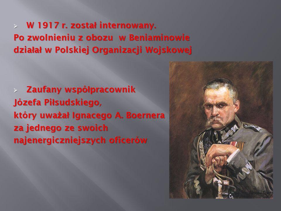 W 1917 r. zosta ł internowany. W 1917 r. zosta ł internowany. Po zwolnieniu z obozu w Beniaminowie dzia ł a ł w Polskiej Organizacji Wojskowej Zaufany