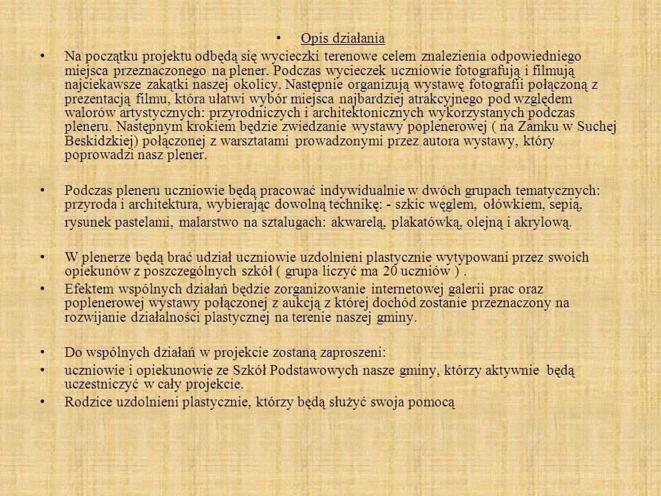 GOK, który będzie odpowiedzialny za pomoc w zorganizowaniu poplenerowej wystawy Kustosz Muzeum w Stryszowie, który udostępni miejsce na zorganizowanie wystawy oraz umożliwi przeprowadzenia aukcji prac.