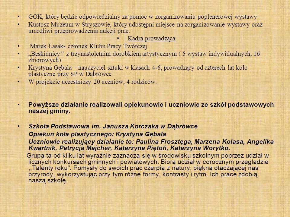 GOK, który będzie odpowiedzialny za pomoc w zorganizowaniu poplenerowej wystawy Kustosz Muzeum w Stryszowie, który udostępni miejsce na zorganizowanie