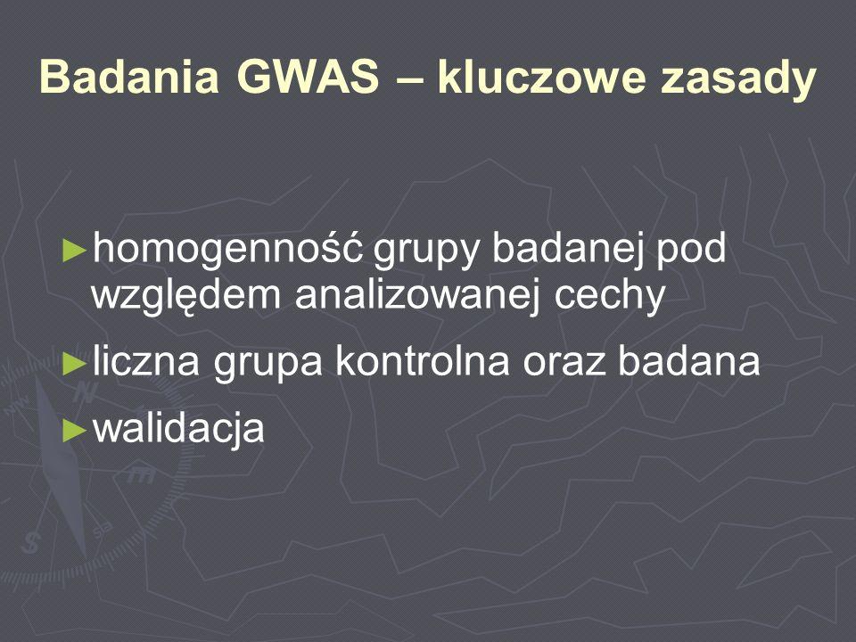 Badania GWAS – kluczowe zasady homogenność grupy badanej pod względem analizowanej cechy liczna grupa kontrolna oraz badana walidacja