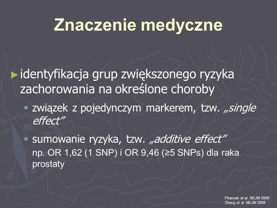 Znaczenie medyczne identyfikacja grup zwiększonego ryzyka zachorowania na określone choroby związek z pojedynczym markerem, tzw. single effect sumowan