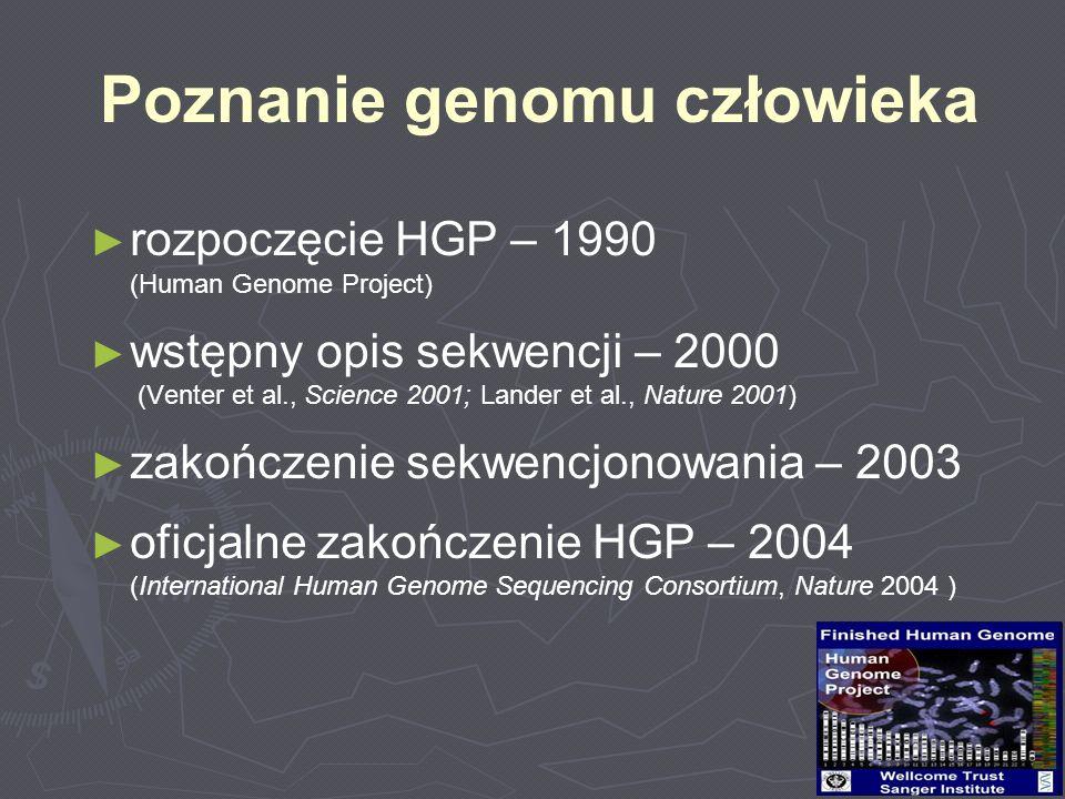 rozpoczęcie HGP – 1990 (Human Genome Project) wstępny opis sekwencji – 2000 (Venter et al., Science 2001; Lander et al., Nature 2001) zakończenie sekw