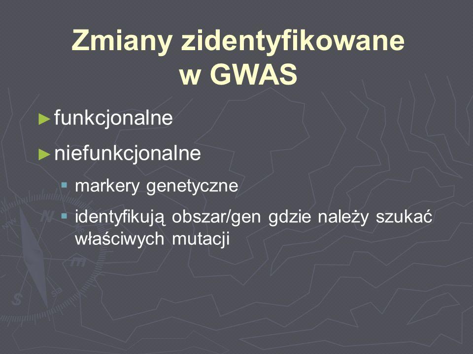 funkcjonalne niefunkcjonalne markery genetyczne identyfikują obszar/gen gdzie należy szukać właściwych mutacji Zmiany zidentyfikowane w GWAS