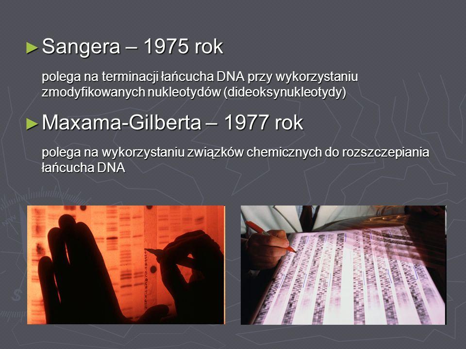 Sangera – 1975 rok Sangera – 1975 rok polega na terminacji łańcucha DNA przy wykorzystaniu zmodyfikowanych nukleotydów (dideoksynukleotydy) Maxama-Gil