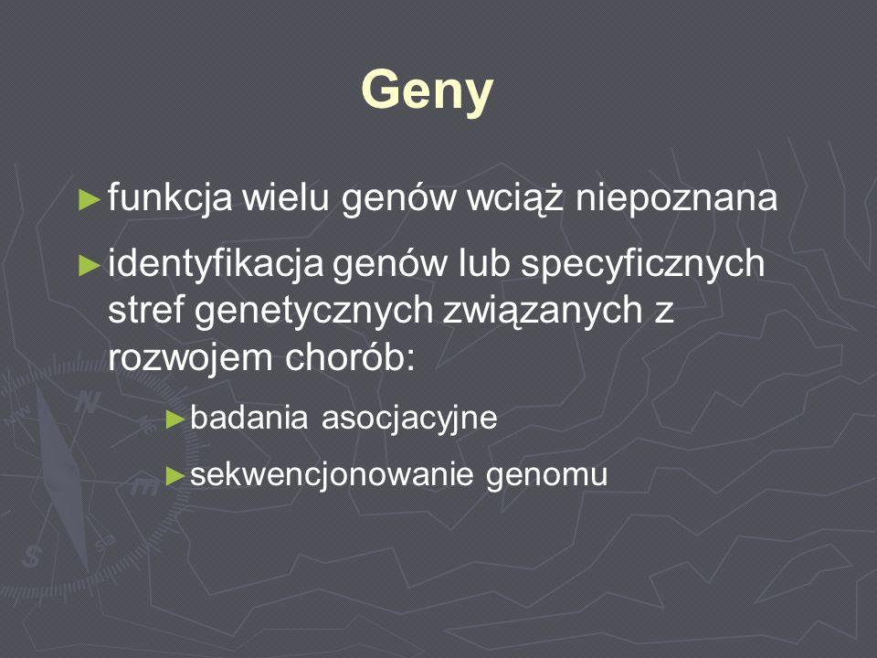 Geny funkcja wielu genów wciąż niepoznana identyfikacja genów lub specyficznych stref genetycznych związanych z rozwojem chorób: badania asocjacyjne s
