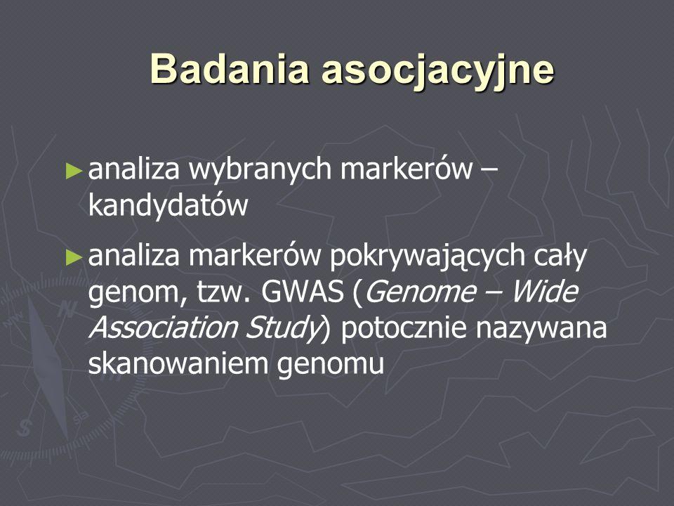 GWAS Badanie przypadek - kontrola (case - control), w którym analizuje się związek pomiędzy występowaniem określonej cechy klinicznej a SNPs lub CNVs rozmieszczonymi w całym genomie AB C AC ABCBB SNP CNV http://www.snipscreen.com/genetics.php