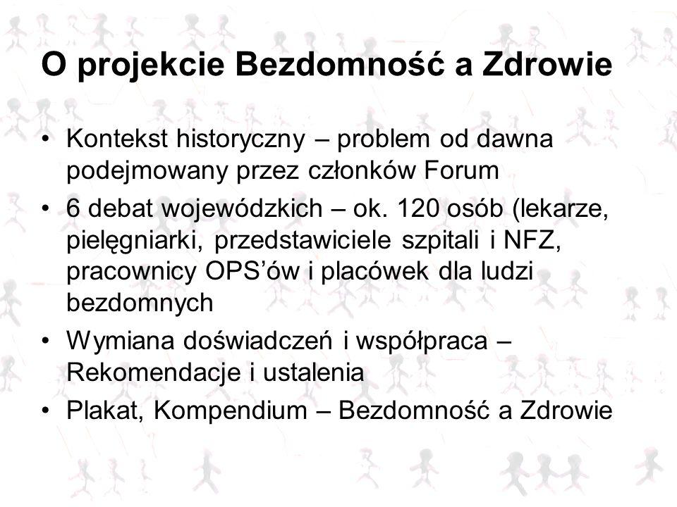 O projekcie Bezdomność a Zdrowie Kontekst historyczny – problem od dawna podejmowany przez członków Forum 6 debat wojewódzkich – ok. 120 osób (lekarze