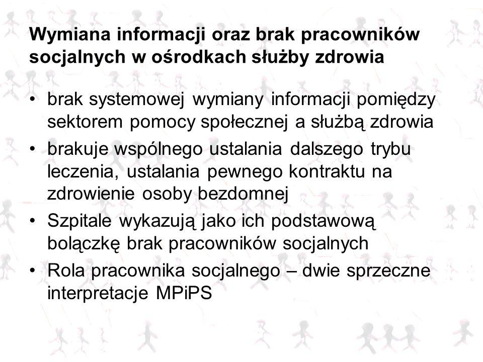 Wymiana informacji oraz brak pracowników socjalnych w ośrodkach służby zdrowia brak systemowej wymiany informacji pomiędzy sektorem pomocy społecznej