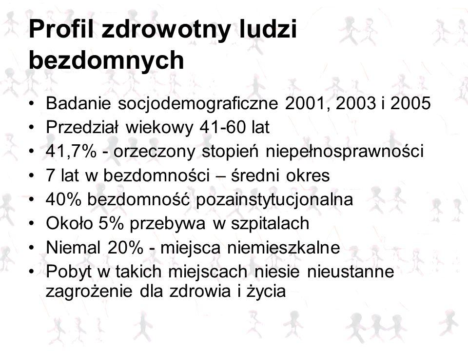 Profil zdrowotny ludzi bezdomnych Badanie socjodemograficzne 2001, 2003 i 2005 Przedział wiekowy 41-60 lat 41,7% - orzeczony stopień niepełnosprawnośc