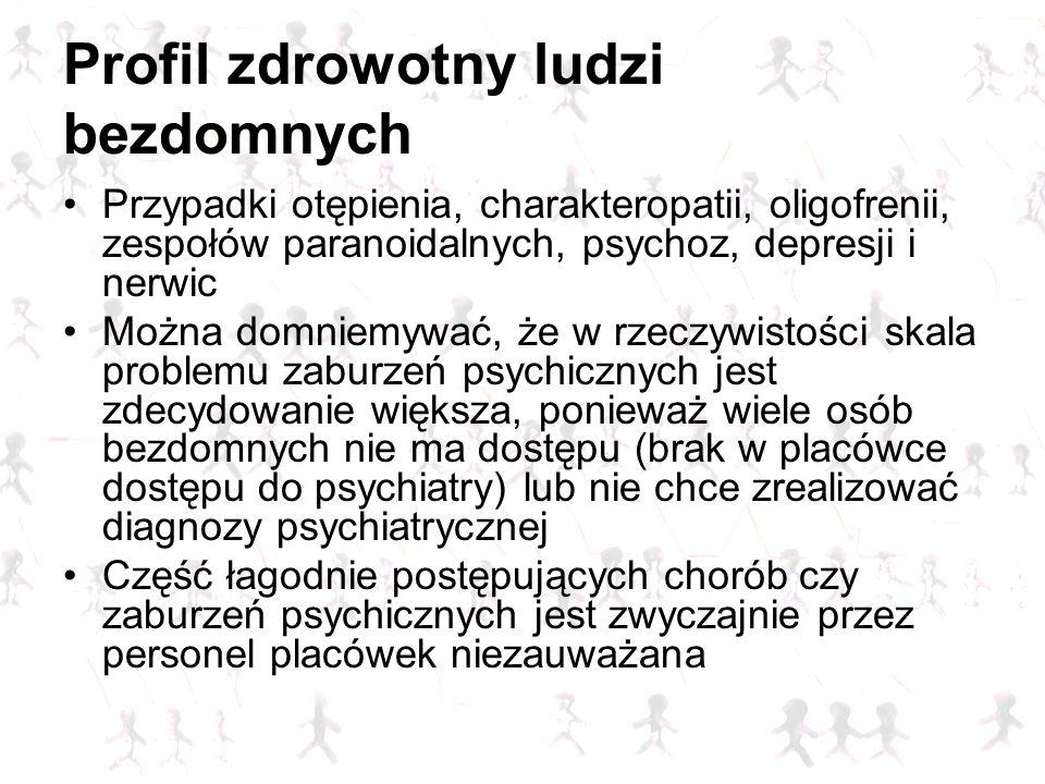Profil zdrowotny ludzi bezdomnych Przypadki otępienia, charakteropatii, oligofrenii, zespołów paranoidalnych, psychoz, depresji i nerwic Można domniem