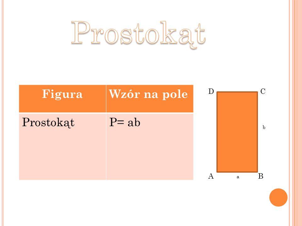 FiguraWzór na pole ProstokątP= ab AB CD a b