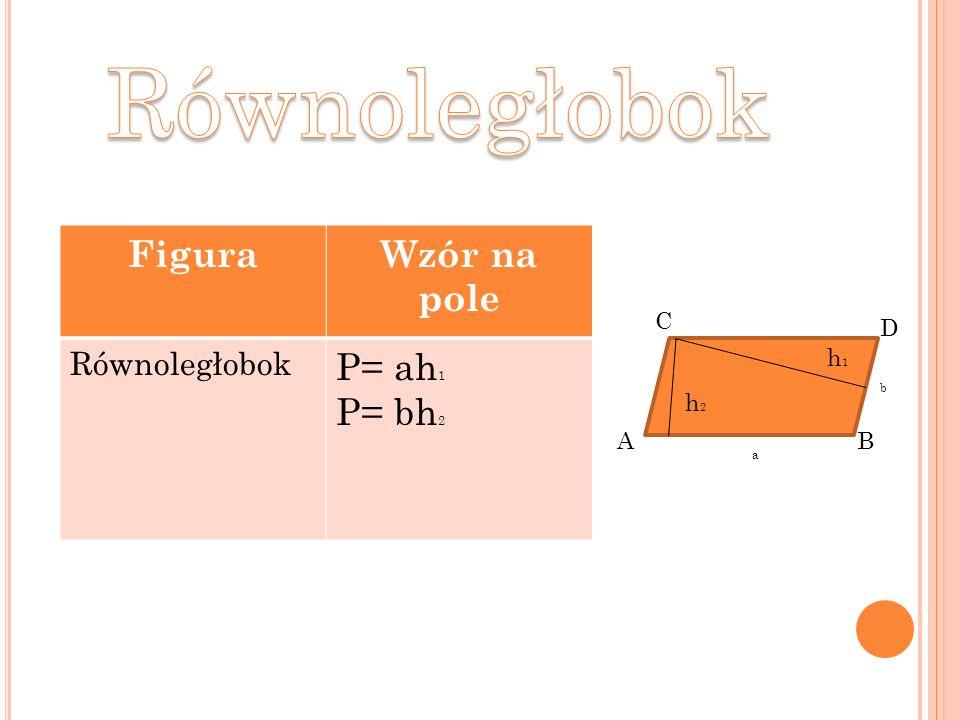 FiguraWzór na pole Równoległobok P= ah 1 P= bh 2 AB C D h1h1 h2h2 a b