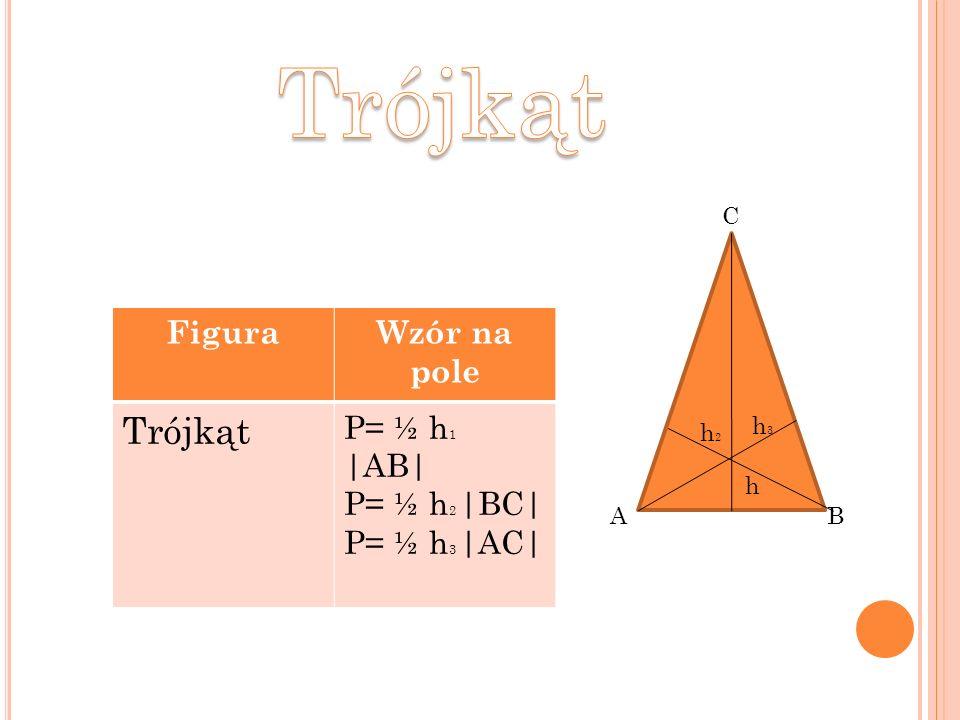 FiguraWzór na pole Trójkąt P= ½ h 1 |AB| P= ½ h 2 |BC| P= ½ h 3 |AC| AB C h2h2 h h3h3