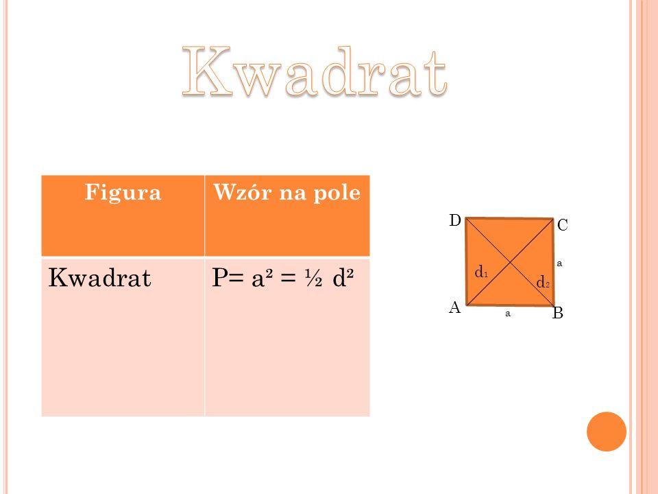 FiguraWzór na pole KwadratP= a² = ½ d² A B C D d1d1 d2d2 a a