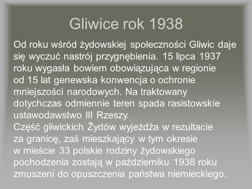Od roku wśród żydowskiej społeczności Gliwic daje się wyczuć nastrój przygnębienia. 15 lipca 1937 roku wygasła bowiem obowiązująca w regionie od 15 la