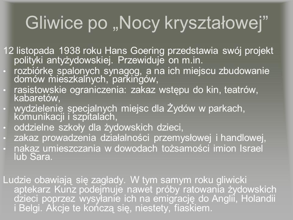 Gliwice po Nocy kryształowej 12 listopada 1938 roku Hans Goering przedstawia swój projekt polityki antyżydowskiej. Przewiduje on m.in. rozbiórkę spalo